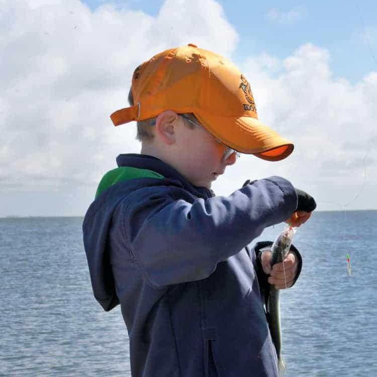 Barn der fisker efter sild