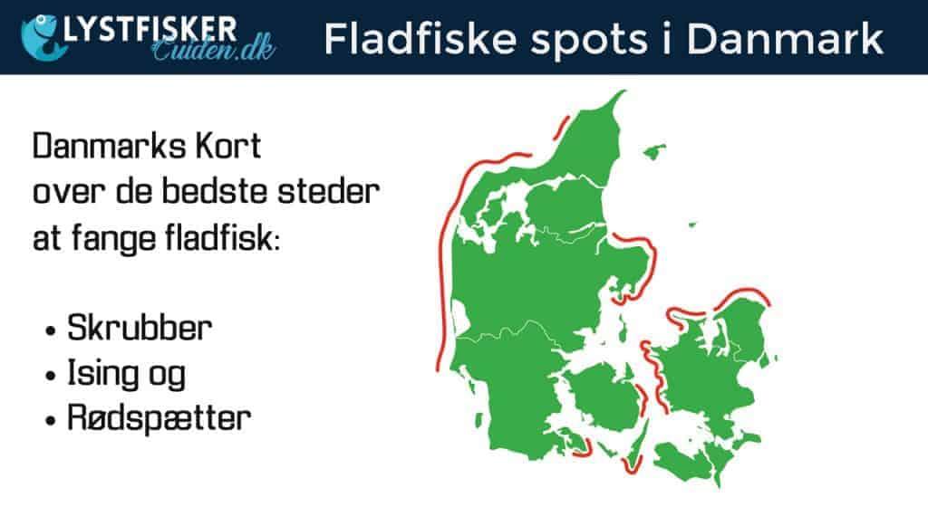 Fladfiske steder kort danmark