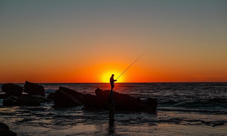 fisker solnedgang
